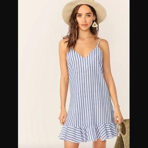 Nautical V-neck Striped Ruffle Hem Slip Dress